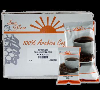Sun Glow's 100% Arabica Coffee in bags and box.